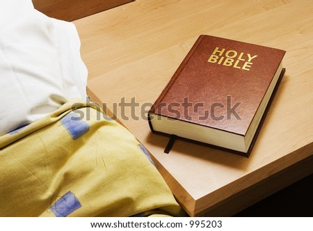 A bible in a hotel room - stock photo
