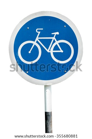 A bicycle lollipop signboard, isolated against white.  - stock photo