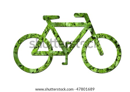 A bicycle made out of green leaves to symbolize ecological or environmental issues. - stock photo