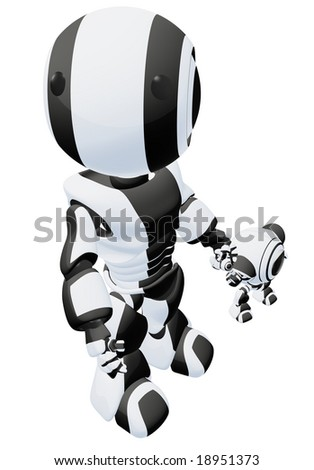 A big and small robot holding hands. The large robot is looking up past the viewer. - stock photo