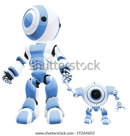 A big and small robot holding hands, the small one is staring at the viewer. - stock photo