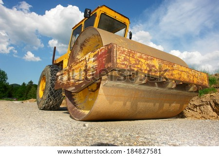 A big barrel for constructions on a building site - stock photo