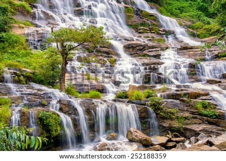 A big beautiful waterfall , Mea ya waterfall in chiangmai , Thailand - stock photo