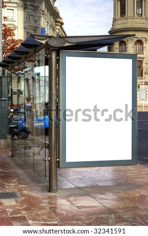 A Big Blank Bus Stop Advertisement Space - stock photo