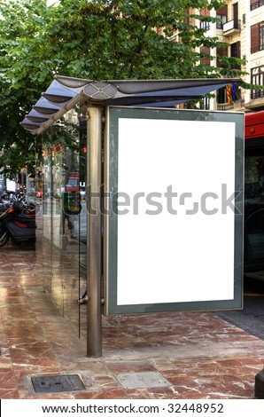A Big Blank Bus Stop Advertisement Space
