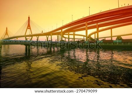 a big bridge at bangkok,thailand - stock photo