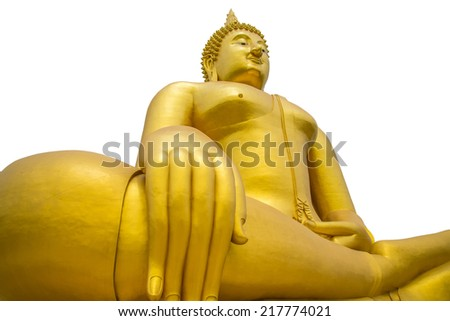 A big Buddha statue on white background. Isolate