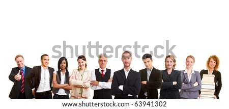 A big business people team in a row - stock photo