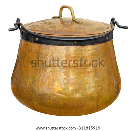 A big copper cauldron isolated on white. Clipping path included. - stock photo