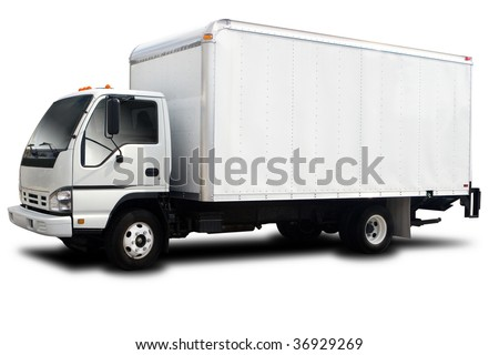 A Big Delivery Truck Isolated on White - stock photo