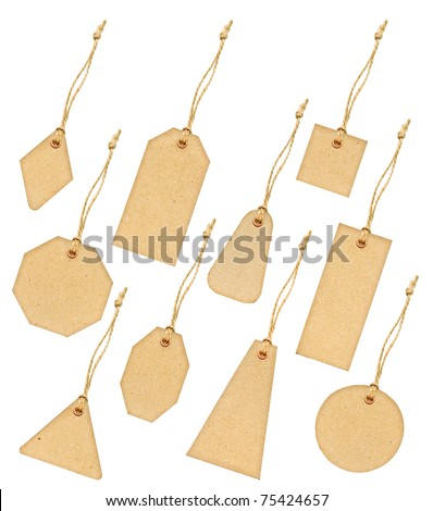 A big detailed set of various shapes grungy aged paper tags with metal rivets and simple traditional strings, isolated on white background