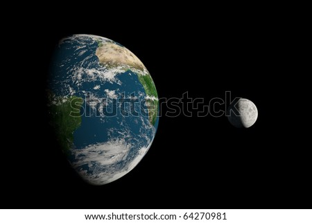 A big Earth and a small Moon on a black background
