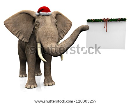 A big elephant holding a blank Christmas decorated sign in its trunk and wearing a Santa hat. White background. - stock photo