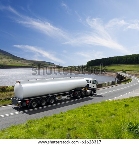 A Big Fuel Tanker Truck - stock photo