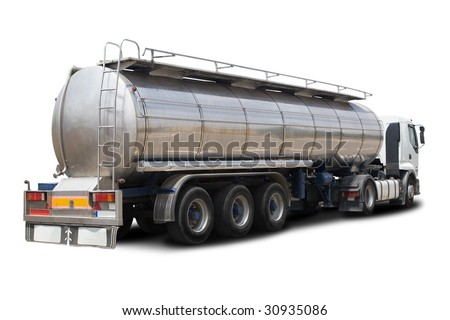 A Big Fuel Tanker Truck Isolated on White - stock photo