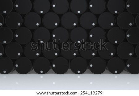 A big group of black new oil barrels on white floor. 3D render background - stock photo