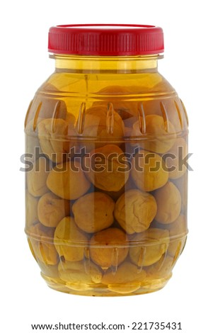 A big jar of pickled peach (Chinese plum, Japanese apricot), isolated on white background - stock photo