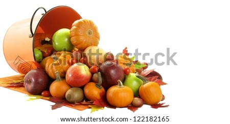 A big load of fruit and vegetable in the autumn - stock photo