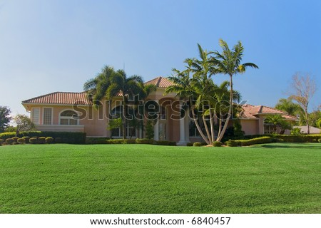 A big luxurious house in South Florida. - stock photo