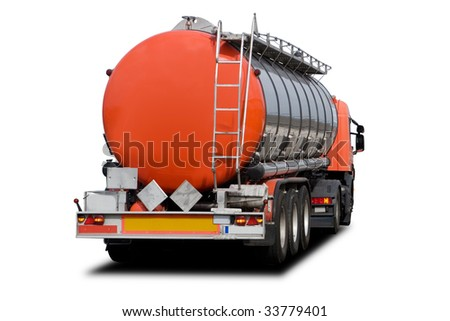 A Big Orange Fuel Tanker Truck Isolated on White - stock photo