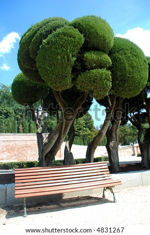 a big park in the city of madrid - stock photo