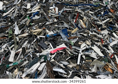 A big pile of aluminum strips for recycling - stock photo