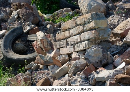 A big pile of debris from a ruined building - stock photo