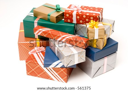 A big pile of nicely wrapped presents