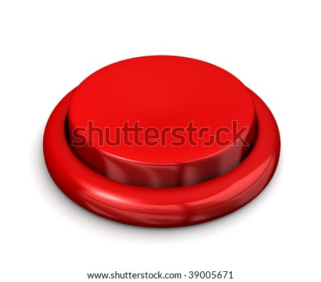 A big red button like used on arcade games isolated on white