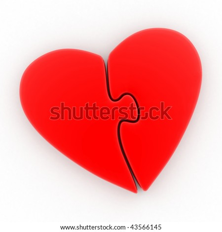 A big red heart in the form of a puzzle - stock photo