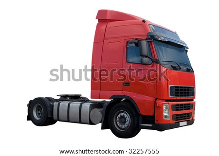 A Big Red Semi Truck Cab Isolated on White - stock photo