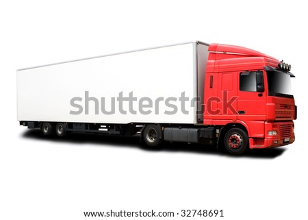 A Big Red Semi Truck Isolated on White - stock photo
