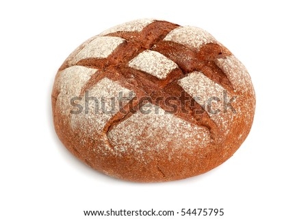 A big round homemade whole wheat bread on a white background - stock photo