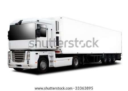 A Big Semi trailer Truck Isolated on White