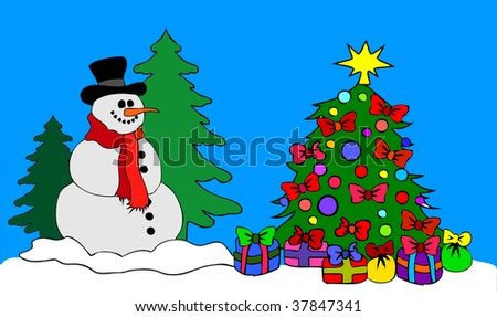 a big Snowman with Christmas Tree
