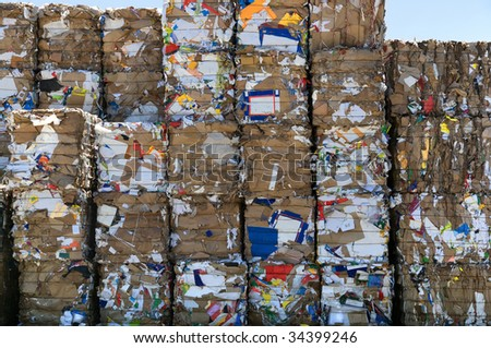 A big stack of paper bales for recycling - stock photo