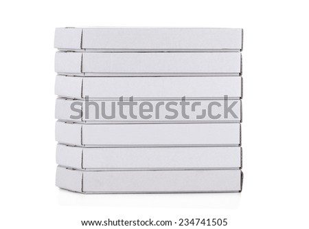 A big stack of pizza boxes, isolated on white - stock photo