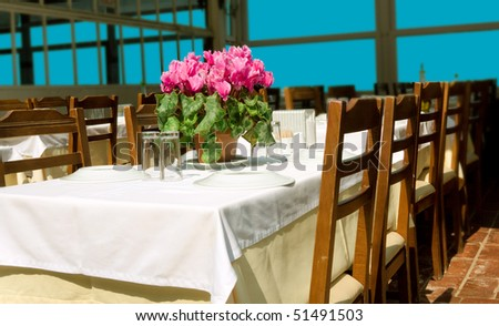 A big table served for customers and a red flower on top - stock photo