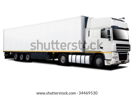 A Big Tractor Trailer Truck Isolated on White - stock photo