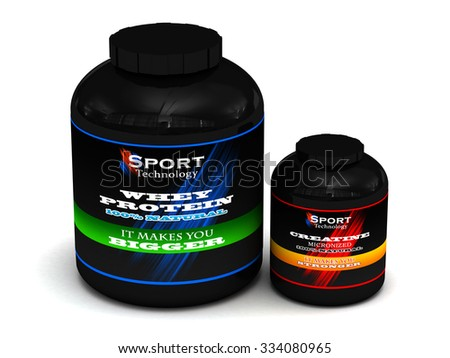 A big tub of Whey Protein and Creatine for body building Isolate on white - stock photo