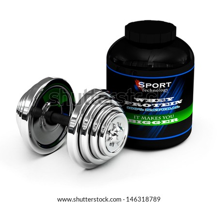 A big tub of whey protein for body building with chrome dumbbell 3D render on the white  - stock photo