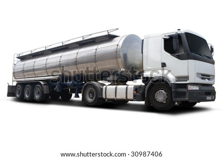 A Big White Fuel Tanker Truck Isolated - stock photo