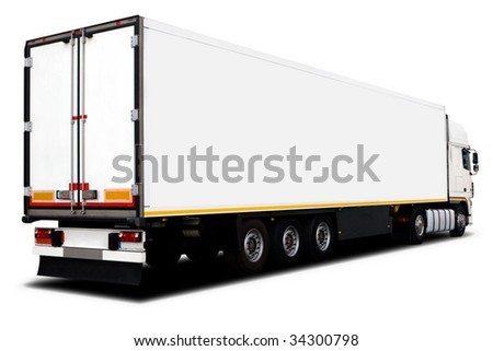 A Big White Semi-Trailer Truck Isolated - stock photo