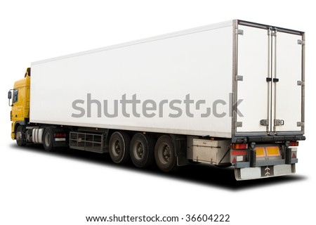 A Big Yellow and White Semi Trailer Truck - stock photo