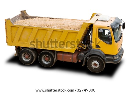 A Big Yellow Dump Truck Isolated on White - stock photo