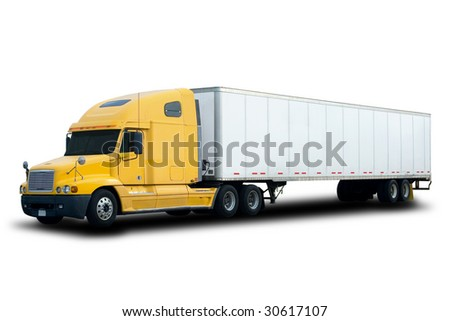 A Big Yellow Semi Truck Isolated on White