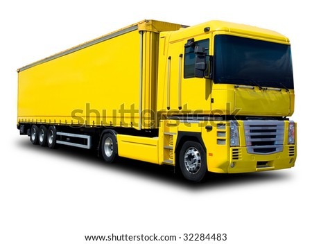 A Big Yellow Semi Truck Isolated on White - stock photo