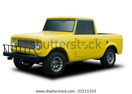 A Big Yellow 4x4 Truck Isolated on White