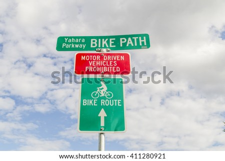 A bike path sign in Madison, Wisconsin - stock photo