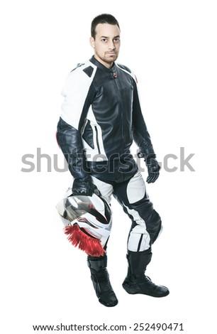 A biker man over a studio  white background - stock photo